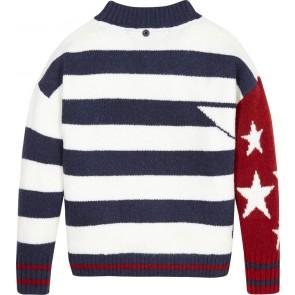 Tommy Hilfiger girls sweater trui en shawl met stars and stripes print in de kleur multicolor