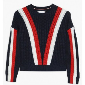 Tommy Hilfiger gebreide sweater trui met print in de kleur donkerblauw