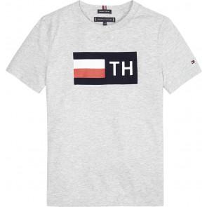 Tommy Hilfiger boys logo block shirt in de kleur grijs