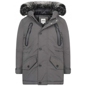 Hugo Boss boys parka winterjas in de kleur grijs