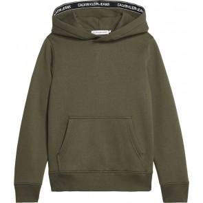 Calvin Klein Jeans hoodie trui met logoband in de kleur groen