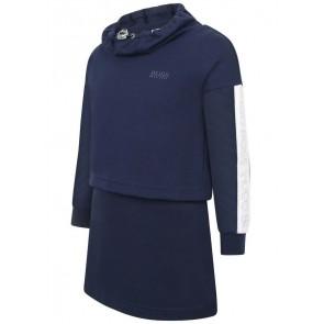Hugo Boss girls jurk met capuchon in de kleur donkerblauw