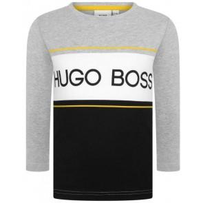 Hugo Boss boys t-shirt met lange mouw en logo in de kleur grijs
