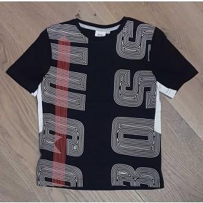 Hugo Boss boys t-shirt met logo in de kleur zwart