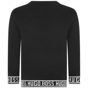 Hugo Boss boys gebreide trui met logobies in de kleur zwart