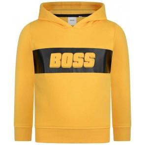 Hugo Boss boys hoodie trui met logo in de kleur geel