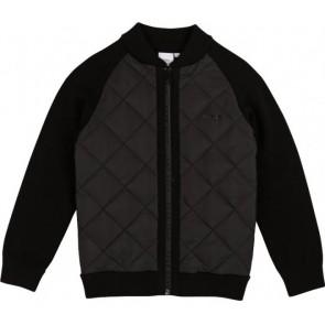 Hugo Boss boys gebreid en gewatteerd vest in de kleur zwart