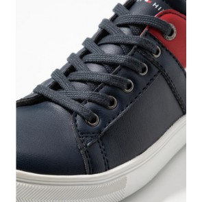 Tommy Hilfiger kids uniseks low cut lace up sneaker in de kleur donkerblauw