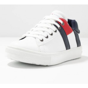 Tommy Hilfiger kids uniseks low cut lace up sneaker in de kleur wit