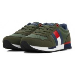 Tommy Hilfiger kids boys low cut lace up sneaker in de kleur green groen