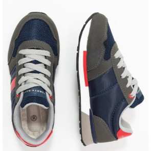 Tommy Hilfiger kids boys low cut lace up sneaker in de kleur grijs