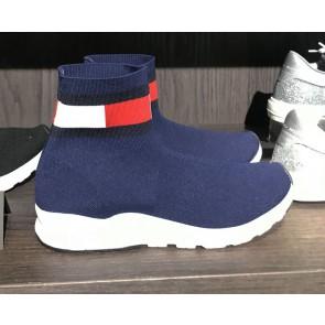 Tommy Hilfiger kids bootie sneaker sok schoen in de kleur donkerblauw