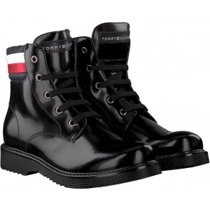 Tommy Hilfiger kids girls lace up bootie laarsjes in de kleur black zwart
