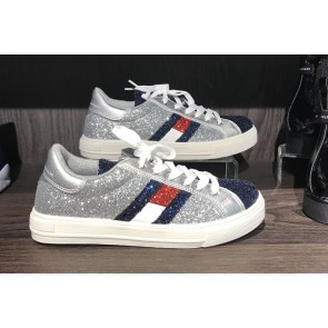 Tommy Hilfiger kids girls low cut lace up glitter sneaker in de kleur zilver