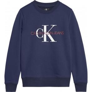 Calvin Klein Jeans sweater trui met logo in de kleur donkerblauw