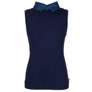 Le Big top met spijkerkraagje in de kleur donkerblauw