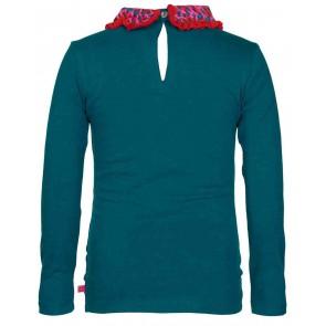 Le Big longsleeve t-shirt met panterprint kraagje in de kleur blauw