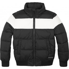 Calvin Klein Jeans winterjas met logo en witte streep in de kleur zwart