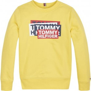 Tommy Hilfiger sweater trui met logo in de kleur geel