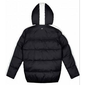 NIK en NIK Elwood jacket winterjas met witte bies in de kleur zwart