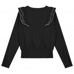 NIK en NIK Gloria top blouse met roezels in de kleur zwart