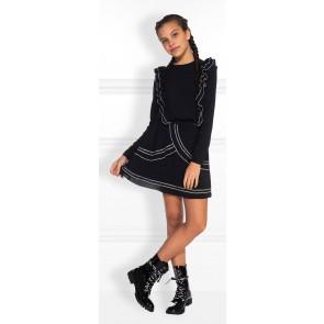 NIK en NIK Gloria dress jurk met roezels in de kleur zwart