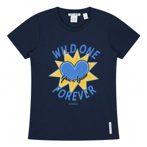 NIK en NIK Wild One t-shirt met print in de kleur donkerblauw