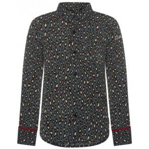 Retour Jeans Alison blouse met panterprint en rode bies in de kleur groen