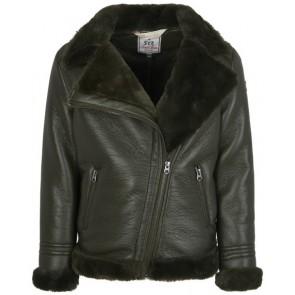 Retour Jeans Ulrike winterjas met fake fur en leerlook in de kleur groen