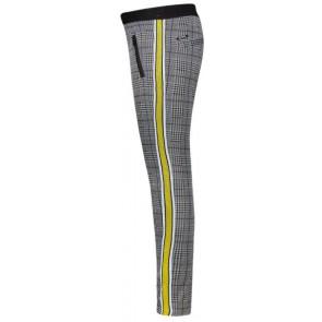Retour Jeans Mabel geruite tregging broek met gele bies in de kleur grijs