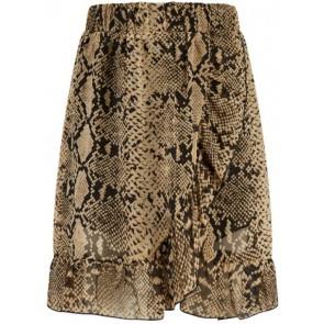 Retour Jeans Kysha rok met roezels en slangenprint in de kleur bruin