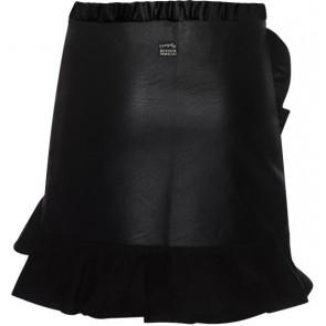 Retour Jeans Richelle rok met roezels en leatherlook in de kleur zwart