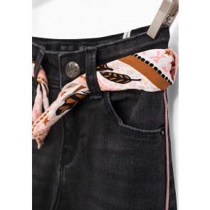 IKKS kids girls skinny broek met sjaaltje en roze bies in de kleur antraciet grijs