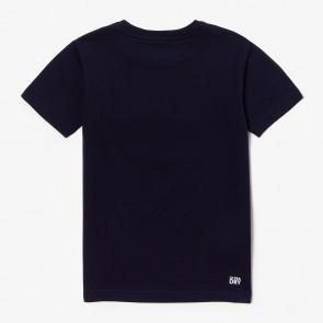 Lacoste t-shirt met rood logo in de kleur donkerblauw