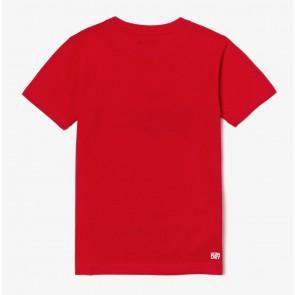 Lacoste t-shirt met donkerblauw logo in de kleur rood