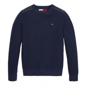 Tommy Hilfiger kids boys structure woven sweater trui in de kleur donkerblauw