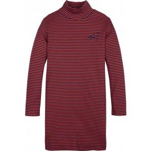 Tommy Hilfiger kids girls stripe knit turtle neck dress jurk in de kleur rood