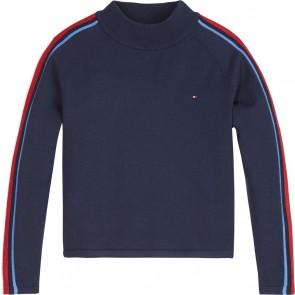 Tommy Hilfiger kids global stripe neck sweater in de kleur donkerblauw