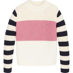 Tommy Hilfiger kids chunky stripe sweater gebreid in de kleur off white
