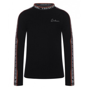 Retour Jeans Lieke longsleeve shirt met bies in de kleur zwart