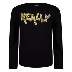 Retour Jeans Silvie sweater trui met tekst in de kleur zwart
