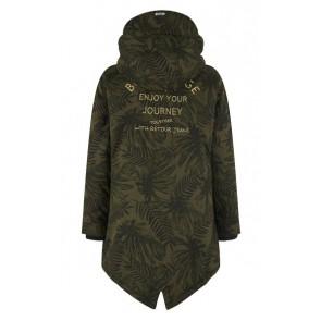 Retour Jeans parka winterjas met jungleprint in de kleur groen