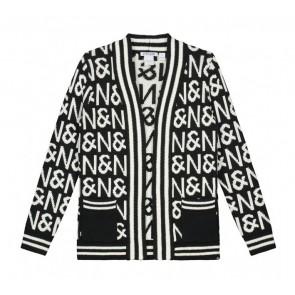 NIK en NIK N&N cardigan gebreid vest in de kleur donkerblauw/wit