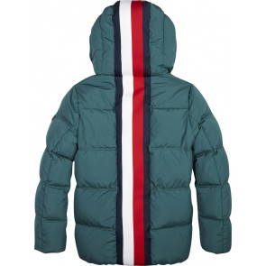 Tommy Hilfiger winterjas met logoband in de kleur zeegroen