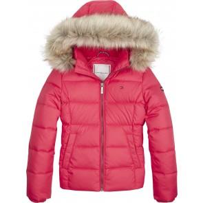Tommy Hilfiger winterjas met bontkraag in de kleur roze