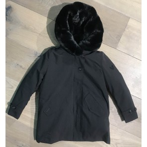 Airforce winterjas soft shell teddy parka in de kleur zwart