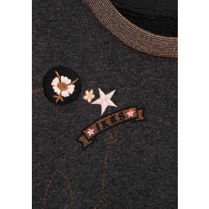 IKKS girls geborduurde sweater trui met glitter bies in de kleur grijs
