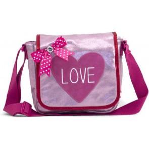 Zebra trend girls schoudertas kinderflaptasje love in de kleur roze