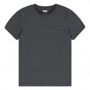 Levi's kids t-shirt met logo label in de kleur antraciet grijs