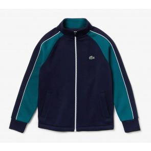 Lacoste kids boys sweatvest met fleece in de kleur donkerblauw/groen